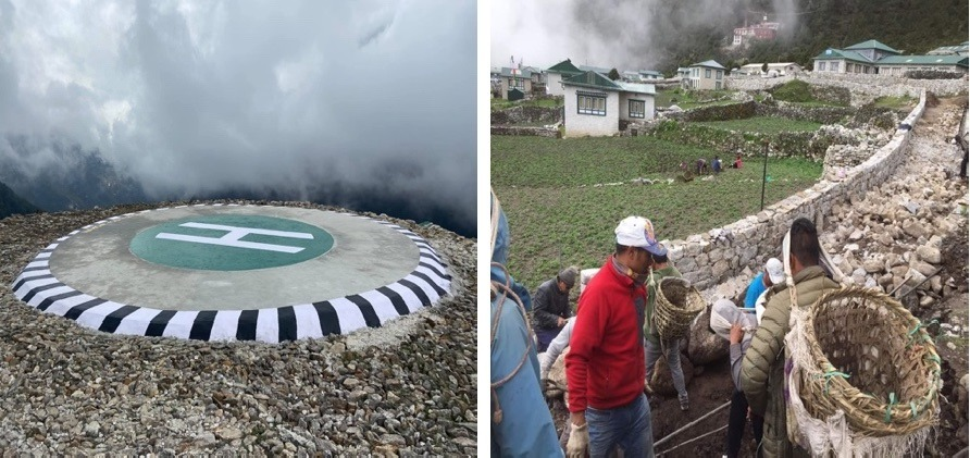 A new helipad in Namche, and trails being repaired in Khunde during the pandemic