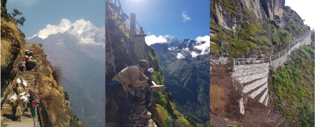 Guard rails and steps have been installed in many unsafe parts of the Everest Trail between Namche and Tengboche during the Covid-19 lockdown by local communities