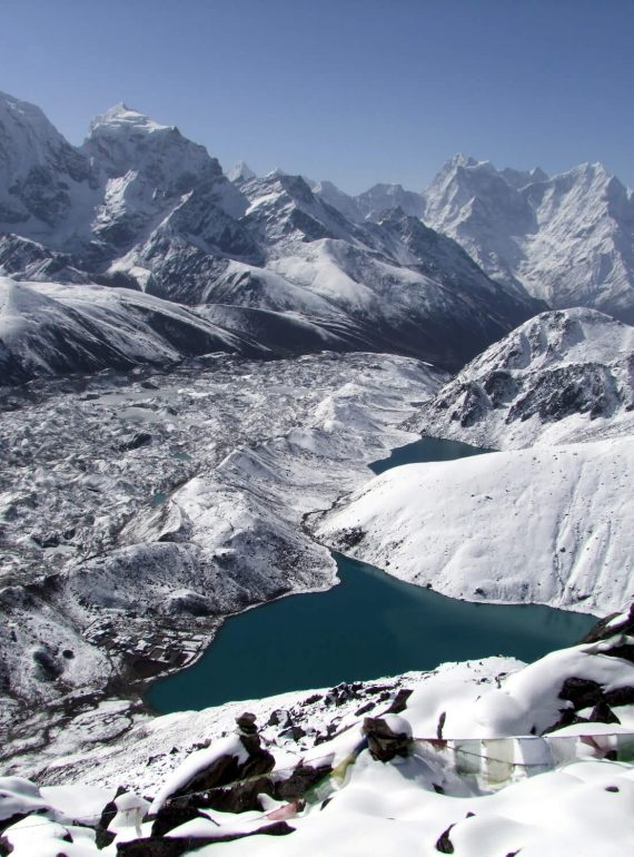 Ngozumba Glacier, Cholatse, Kangtega and Thamserku from Gokyo ri. Photo: MARK HORELL